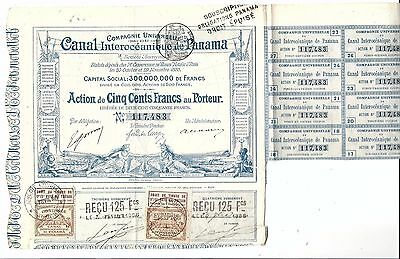 G52 Panama Canal Rare French bond stock certificate 1886 antique failed attempt