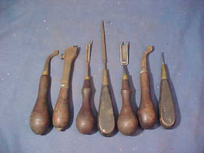 7-19thc Metal LEATHER WORKING Hand TOOLS w Wood Handles Lot 2