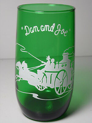 Vintage ANCHOR HOCKING Forest Green DAN AND JOE Horse ADVERTISING DRINKING GLASS