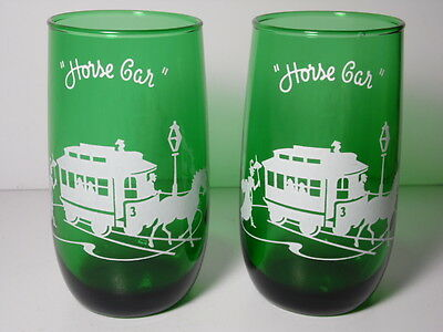 2 VINTAGE ANCHOR HOCKING Forest Green HORSE CAR Advertising TWO DRINKING GLASSES