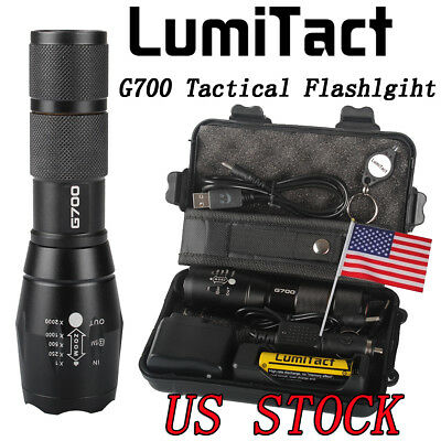 8000lm Genuine Lumitact G700 L2 LED Tactical Flashlight Military Torch battery
