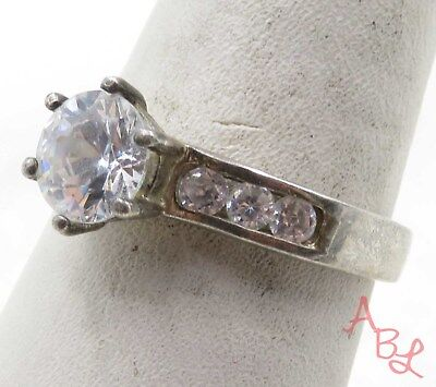 Sterling Silver 925 Prong Set With Accents White Stone Ring Sz 8 (3.5g) - 575533