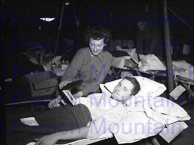 WW2 5x4 Photo Negative, Wounded Soldier, Nurse, Pupple Heart, Hospital Tent 4339
