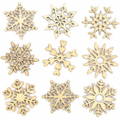 10pcs Assorted Wooden Snowflake Xmas Wedding Tree Hanging Ornament Party Decor