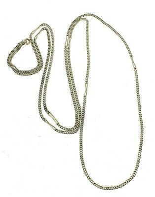 Antique Victorian Sterling Curb Not Box Chain W Nice S Shape Link Necklace 50""