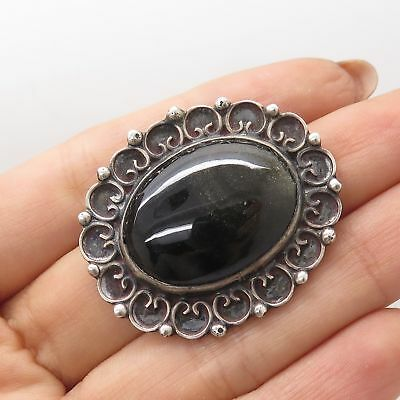 Mexico Vtg 925 Sterling Silver Real Jasper Gemstone Sombrero Pin Brooch Vintage & Antique Jewelry