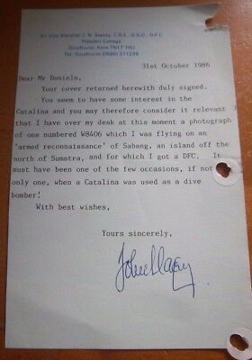 Unique - Air Vice Marshal John.n Stacey Dso,dfc,cbe Signed Letter