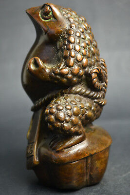 Vintage Collectible Old Copper Kongfu Frog Noble Decor Statue