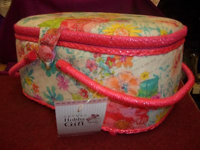 Large Oval  Sewing Basket Pink Floral With Two Handle