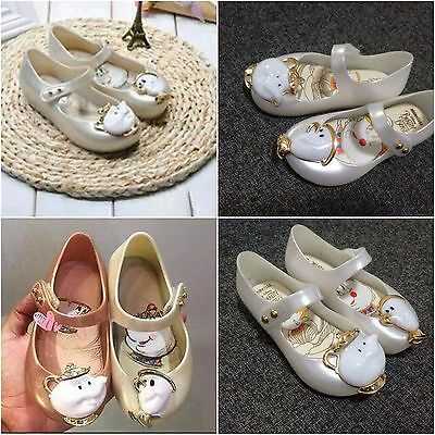 Girls Beauty And The Beast Cosplay Dress Up Sandals Princess Summer Jelly Shoes