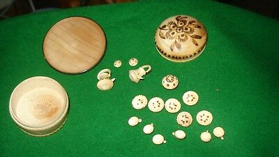 Vintage micro miniature wooden tea/coffee set in wood box for old dolls house