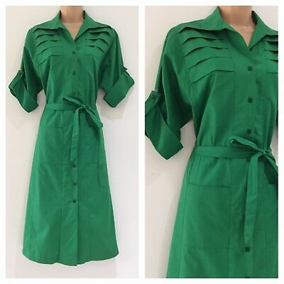 Vintage 80's Retro Grass Green Pleated Bodice Belted Midi Casual Day Dress 14