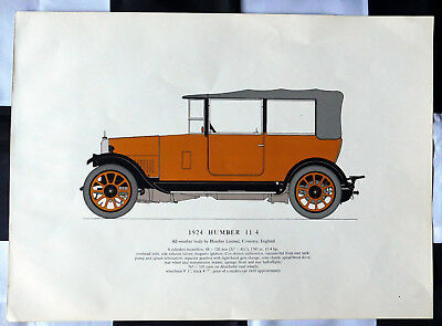 """1924 HUMBER 11 - 4 - Colour line drawing  Unframed print 18.75"""" x 13.5"""""""