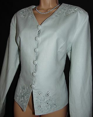 BNWT Laura Ashley vintage linen-cotton embroidered occasion jacket-blazer, 16 UK