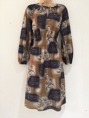Vintage 80's Retro Beige Brown Grey Floral Print Long Sleeve Day Dress Size 10