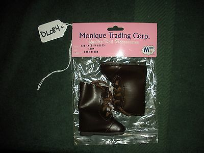 Size 65MM DL436 Dk Monique Trading Corp Brown 796 Lace Up Boots Doll Shoes