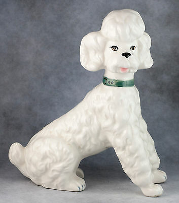 Vintage Bone China 5.75 Inch White Poodle Dog Figurine Gloss Finish 7146