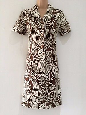Japanese Vintage 70's Mod Brown & White Floral Print Shift Day Dress Size 12