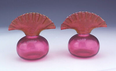 Antique Cranberry Glass - Pair Of Trail Banded & Gathered Neck Vases - Early!