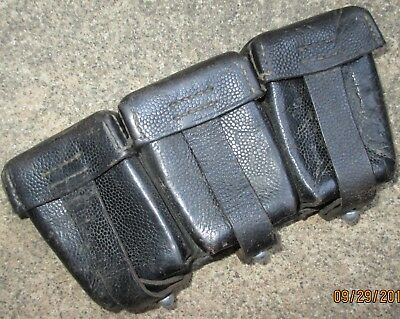 WWII German K98 1940 Dated Ammo Pouch Three Pocket Nice Honest  and Solid