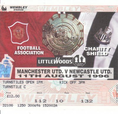 NEWCASTLE UNITED v MANCHESTER UNITED. 11/8/96 CHARITY SHIELD . TICKET