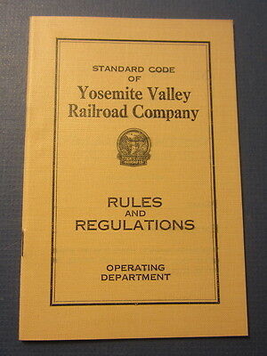Original Old Vintage 1930 YOSEMITE VALLEY RAILROAD - RULES and Regulations BOOK