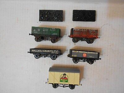 Oo Scale, British, Freight Wagons, Assorted, 5 Cars, Unknown Brands
