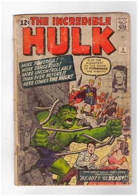 Incredible Hulk # 5 In the Name of Tyrannus the Mighty ! grade 1.8 scarce book !