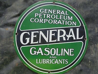 "Vintage General Gasoline porcelain pump sign garage station ""MADE IN USA 29"" can"