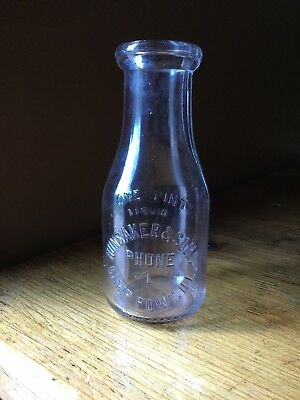 HUNSAKER & SON'S DAIRY Embossed Pint Dairy Milk Bottle CAMP POINT, ILLINOIS