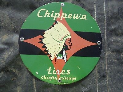 "Vintage Chippewa Tires porcelain sign metal garage service Indian Chief ""USA 53"""