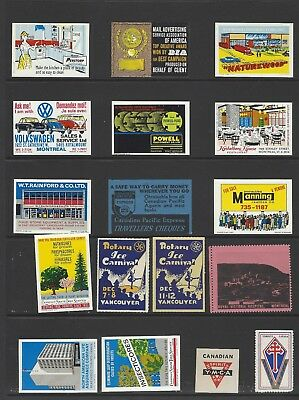 Canada A selection of unused advertising labels on two pages with Rotary etc