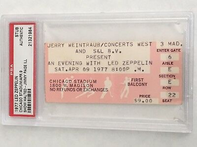 Led Zeppelin 1977 Psa Authenticated Ticket Stub Chicago Stadium Jimmy Page Sick