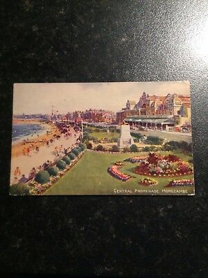 Vintage Postcard Central Promenade,Morecambe - Posted 1943