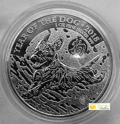 2018 UK Royal Mint Lunar Year of the Dog 1oz Silver Coin