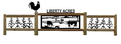 Hereford Cattle-Fence-Farm-Ranch Decor-Country Living-Corn-Roosters