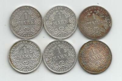 Ncoffin Germany 1904E 1904F 1904J 1905D  1906D & 1907A 6 One Mark .900 Silver