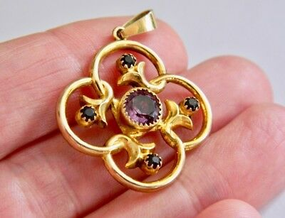 Beautiful Antique Victorian 9ct Not Scrap Gold Amethyst Pendant Circa 1890