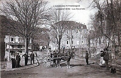 07 - Largentiere - Les Recollets Cafe Attelage Tres Animee 1908