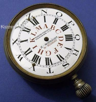 Antique Marconi Telegraph Co Goliath Fob Pocket Watch Operators Time Code Dial