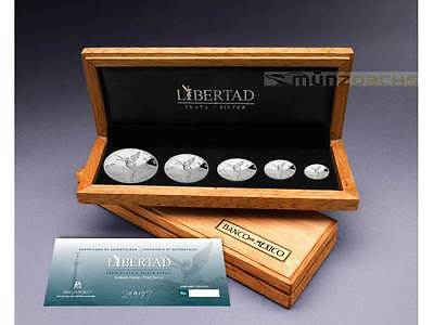 Libertad 1 1/2 1/4 1/10 1/20 oz .999 fine silver Proof Set Mexico 2017 only 1000