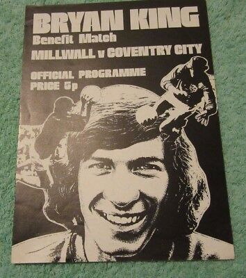 Bryan King Benefit Match Millwall v Coventry City 1975/76