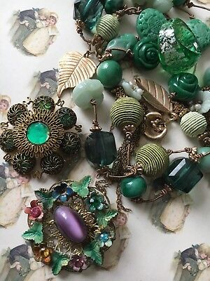 Costume Jewellery Job Lot Green Jade Coloured Ring Brooches Necklace Charm