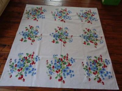 Vintage Wilendur Tablecloth Red Berries Blue Daisy