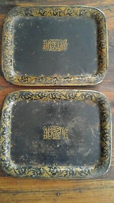 Pair Antique Primitive 19thc Toleware Painted Trays Gold On Black Monogrammed