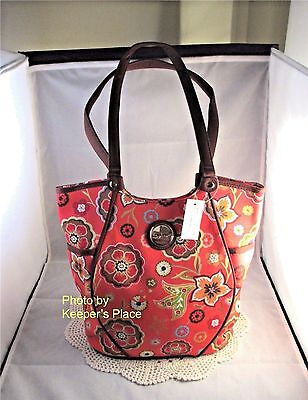 Longaberger PRETTY IN PINK Fabric Side Pocket Tote Bag Purse Retired New w/ Tag