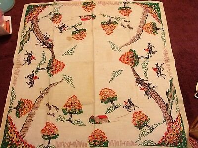 Vtg Card Game Table Cloth Tablecloth Hunt Scene Horses Jumping English Cottage