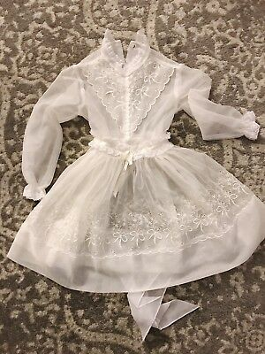 Vintage Girls Childrens Sheer White Organdy Party Dress Silk Ribbon& Lace 1950s