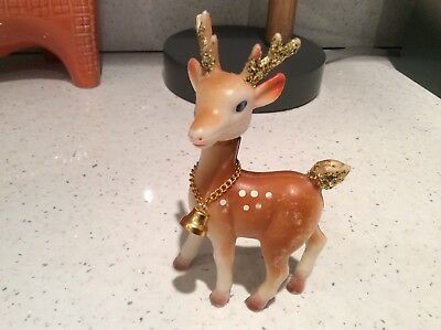 Vintage Christmas Reindeer Figurine Soft Plastic Movable Head Made in Hong Kong