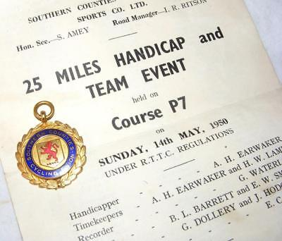 1950 Southern Counties Cycling Union Cycling Medal with supporting paperwork